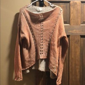 Wide neck high/low sweater